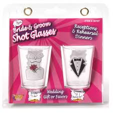 Bride & Groom Shot Glass Set