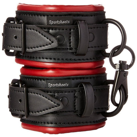 Sportsheets Saffron Padded Cuffs Red and Black