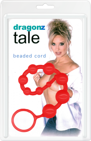 "Dragonz Tale Beaded Cord - 12"" - Red Anal Beads"