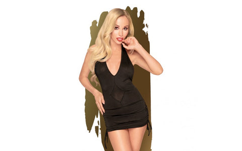 Penthouse Lingerie Earth Shaker V-Neck Mini Dress With Gathering and Thong - Black L/XL