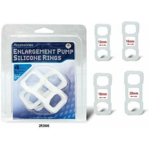 Enlargement Pump Silicone Rings (pack of 4) 12, 16, 18 & 20mm Dia.