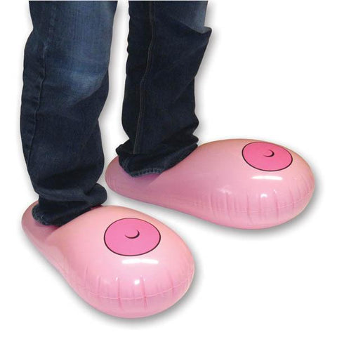 Inflatable Boobie Slippers Novelty Slippers Inflates to 50 cm long!