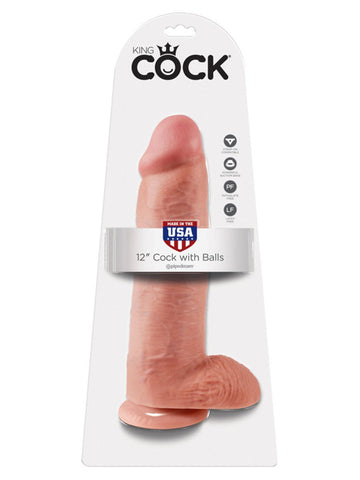 King Cock - 12 in. Cock With Balls Flesh & Suction Cap