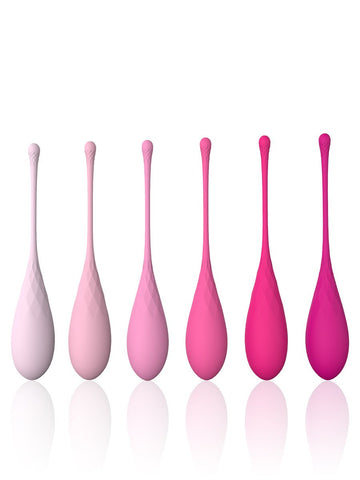 Diamonds Silicone Textured Kegel Balls - Weighted Training Set Pink