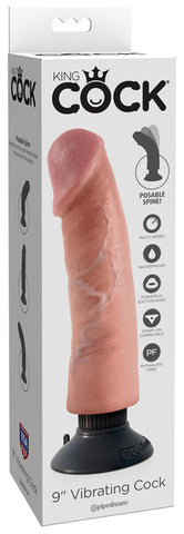 King Cock 9 Inch Vibrating Cock- Flesh