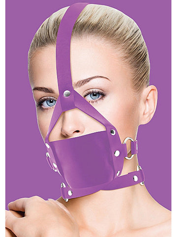 Ouch Leather Mouth Gag Purple