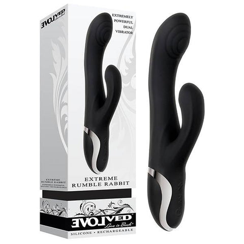 Evolved Extreme Rumble Rabbit Rechargeable Waterproof Vibrator 22.9 cm (9'') USB Rechargeable Black