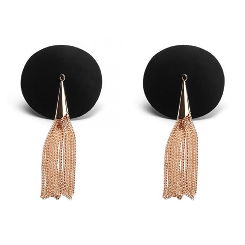 Secret Kisses Rose Gold Tassel Pasties - Black/Gold Nipple Pasties