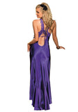 Shirley of Hollywood 20530 Charmeuse and Cut Out Lace Gown Purple Size Medium