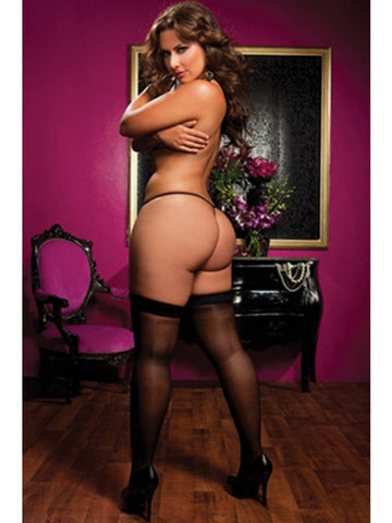 Sheer Thigh High Stockings Black - One Size Queen - Seven Til Midnight 20301X-Blk-OSQ(BX)