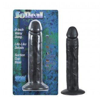 So Real 9 Inch Veiny Dong - Black