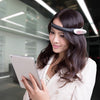 Macrotellect BrainLink Lite EEG Headband on a woman with an iPad