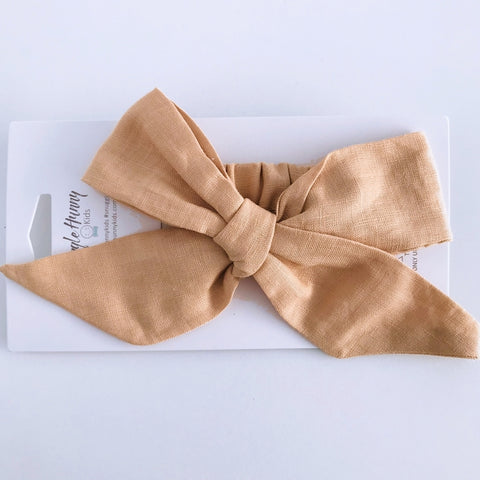 Snuggle Hunny Kids - Linen Bow Pre-Tied Headband Wrap (SunKiss)