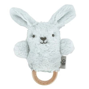 OB Designs - Wooden Teether / Baby Rattle & Teething Ring - Baxter Bunny