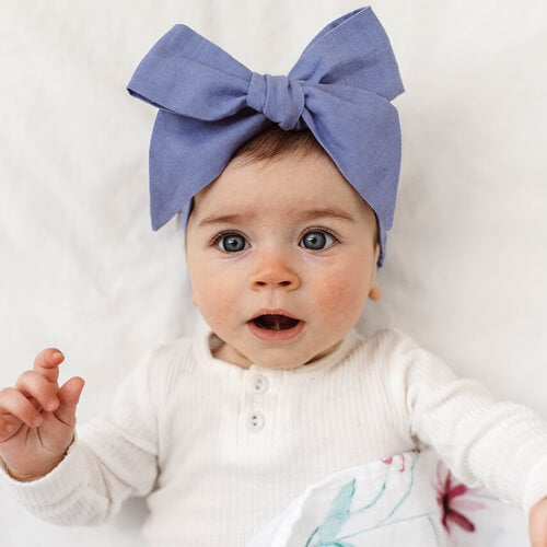 Snuggle Hunny Kids - Linen Bow Pre-Tied Headband Wrap (Lavender Blue)