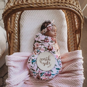 Snuggle Hunny Kids - Jersey Wrap & Topknot Set (Pansy Heart)