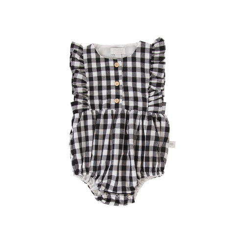 Peggy - August Playsuit Black & White Check