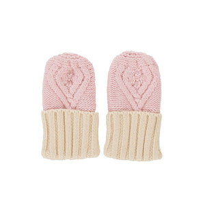 Acorn - Cable Knit Mittens Pink