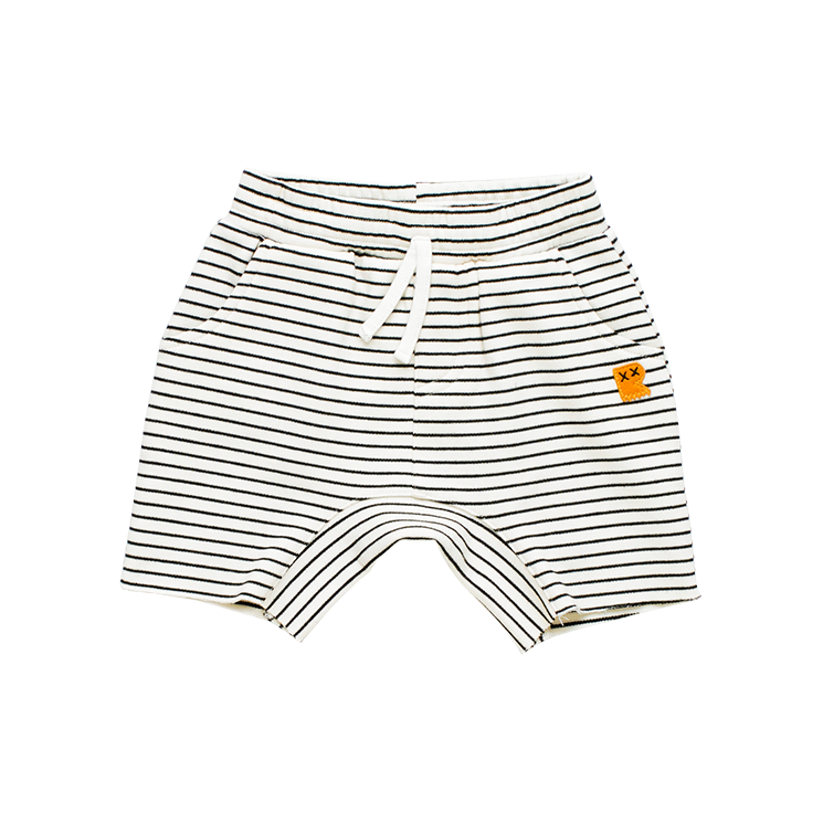 Rock Your Baby - Cream/Black Stripe Baby Shorts