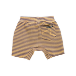 Load image into Gallery viewer, Rock Your Baby - Charcoal/Mustard Stripe Baby Shorts