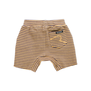 Rock Your Baby - Charcoal/Mustard Stripe Baby Shorts