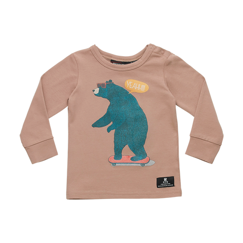Rock Your Baby - Bear Skater LS Baby T-Shirt