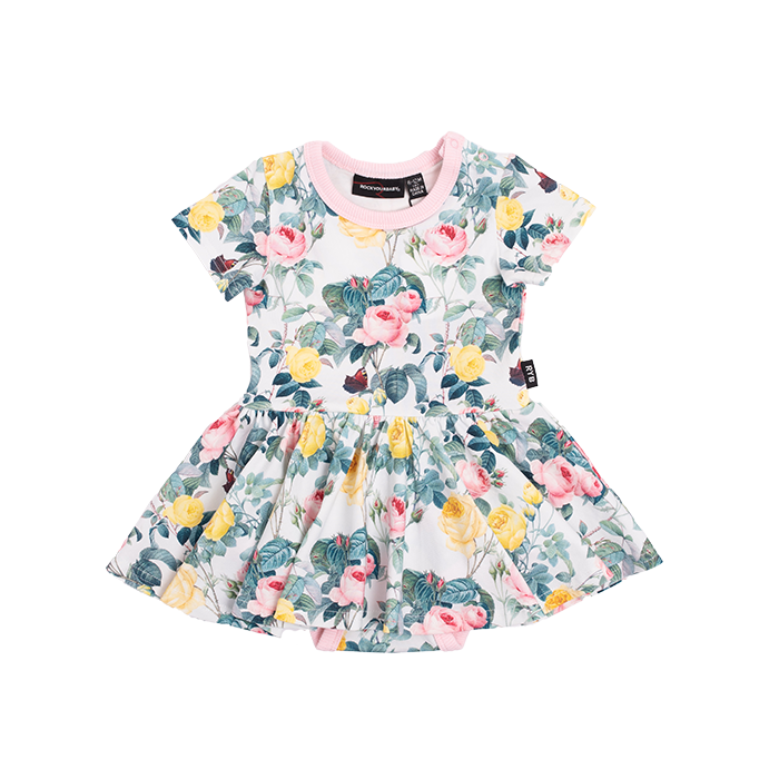 Rock Your Baby - A Rose Is A Rose Short Sleeve Waisted Dress (Baby)