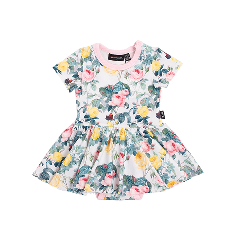PRE-ORDER Rock Your Baby - A Rose Is A Rose Short Sleeve Waisted Dress (Baby)