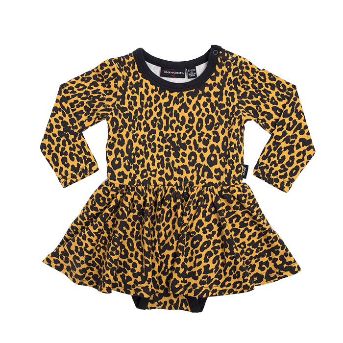 Rock Your Baby - Leopard Skin Long Sleeve Waisted Dress