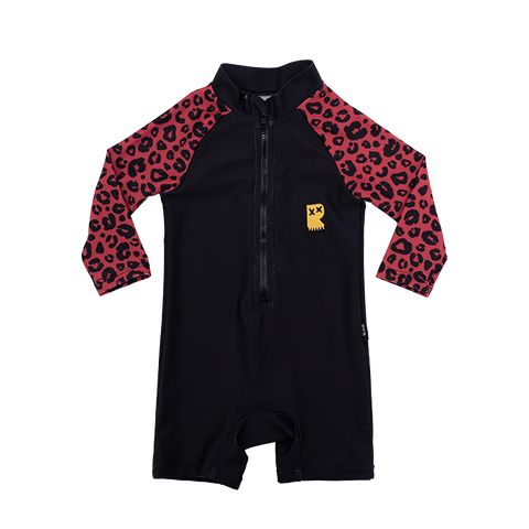 Rock Your Baby - Red Leopard Long Sleeve Swimsuit