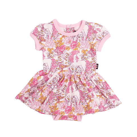 Rock Your Baby - Retro Unicorn Short Sleeve Waisted Dress