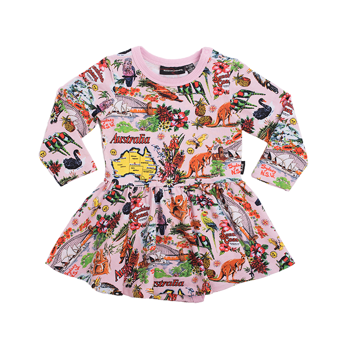 Rock Your Baby - Souvenir Long Sleeve Waisted Dress