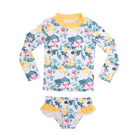 PRE ORDER - Rock Your Baby - A Rose Is A Rose Rashie Set (Girls)