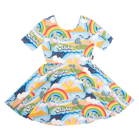 PRE ORDER - Rock Your Baby - Aloha Rainbow Mabel Dress