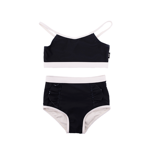 Rock Your Baby - Black Frill High Waisted Bikini
