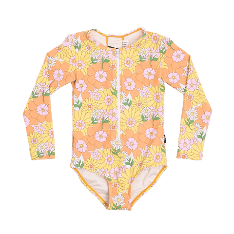 Rock Your Baby - Flower Power Long Sleeve One Piece (Girls)