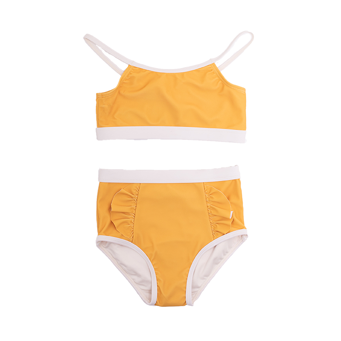 Rock Your Baby - Mustard Frill High Waisted Bikini