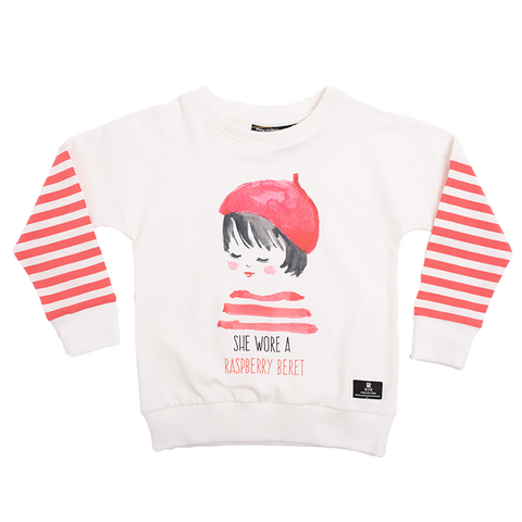 Rock Your Baby - Raspberry Beret LS Girls T-Shirt
