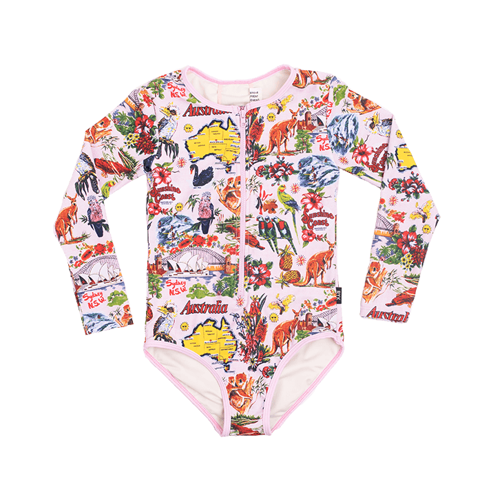 Rock Your Baby - Souvenir Tea Towel Long Sleeve One Piece (Girls)