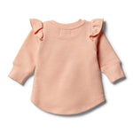 Load image into Gallery viewer, Wilson & Frenchy - Tropical Peach Speckle Ruffle Sweat Top