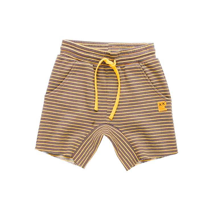Rock Your Baby - Charcoal/Mustard Stripe Shorts