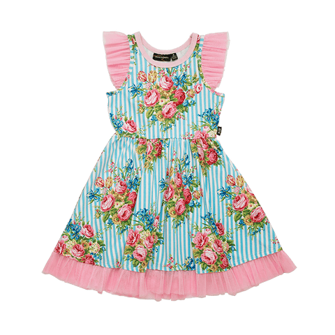 Rock Your Baby - Blue Stripe Floral Singlet Waisted Dress