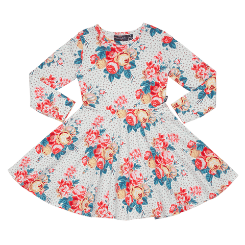 Rock Your Baby - Antique Chintz Girls LS Waisted Dress