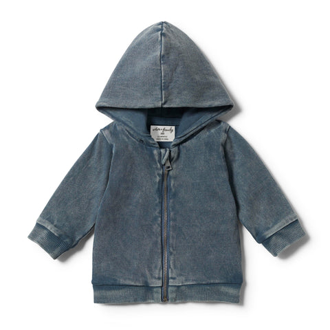 Wilson & Frenchy - Steel Blue Hooded Jacket With Zip