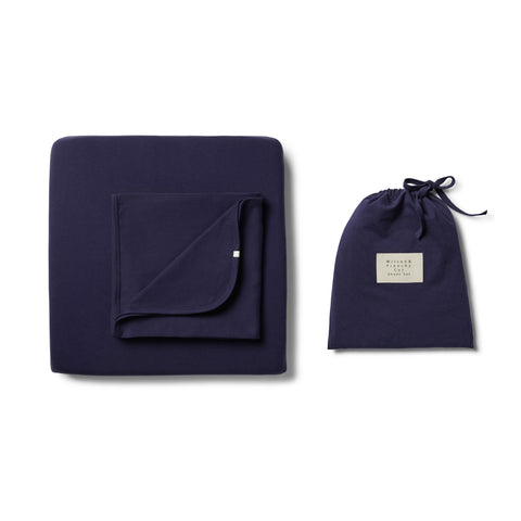 Wilson & Frenchy - Organic Twilight Blue Cot Sheet Set