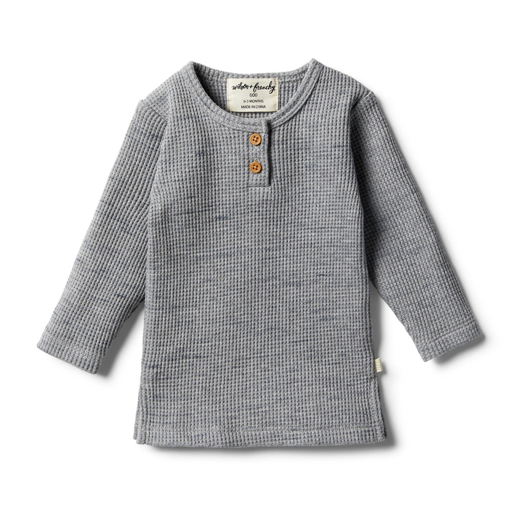 Wilson & Frenchy - Cloud Grey Waffle Henley Top