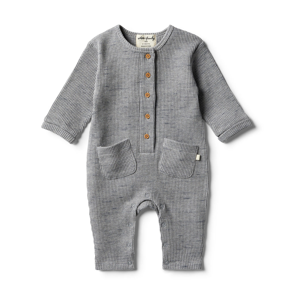 Wilson & Frenchy - Cloud Grey Waffle Slouch Growsuit