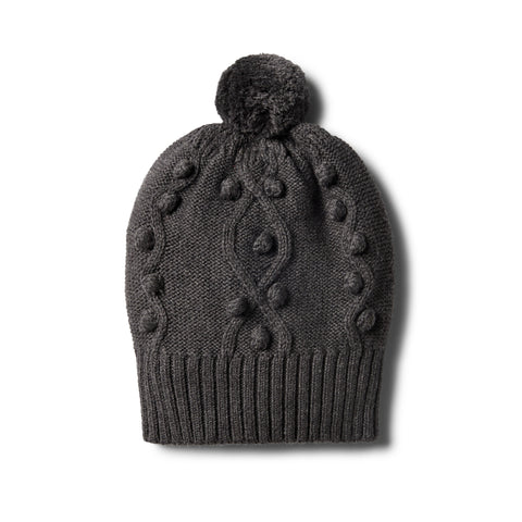 Wilson & Frenchy - Storm Grey Knitted Hat with Baubles