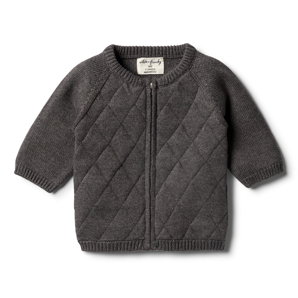 Wilson & Frenchy - Storm Grey Knitted Zip Thru Cardigan