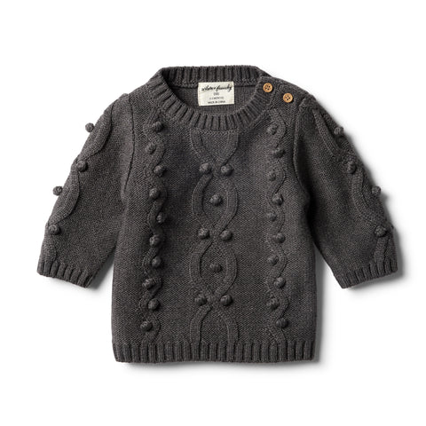 Wilson & Frenchy - Storm Grey Knitted Jumper with Baubles
